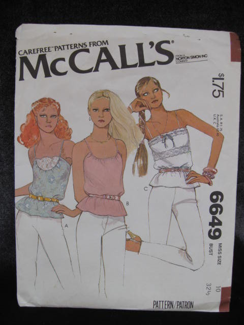 New Vintage McCall's 6649 Summer Pullover Spaghetti Strap Top  Sewing Pattern 1970's
