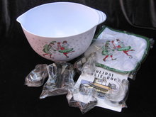 Macy's Set Of Christmas Mixing  Bowl, 5 Cookie Cutters Hot Pad Holder & Cookie Recipes