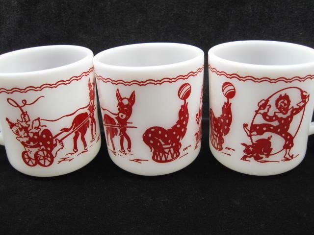 6 Vintage Hazel Atlas Clown Pig  Donkey Seal Circus Child's Mugs