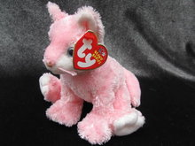 Ty  Carnation The Pink & White Kitty Cat  Retired  Beanie Baby