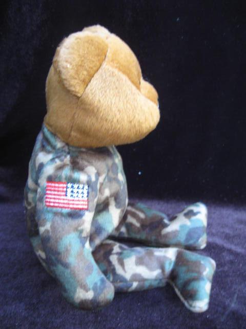 Ty  USA USO  HERO  Military  Bear Reversed Flag Retired Beanie Baby