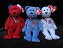 Ty Ret White & Blue America Trio Patriotic Bears Beanie Babies Baby