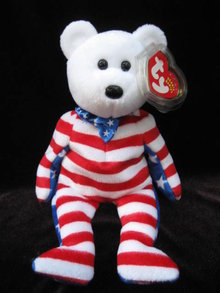 Ty Beanie Baby White Liberty The Patriotic Bear  Ty Beanie Baby White Liberty The Patriotic Bear