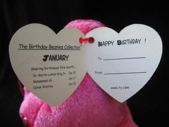 Ty January    Birthday Bear Beanie Baby