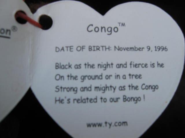 Ty Congo The Gorilla Beanie Baby