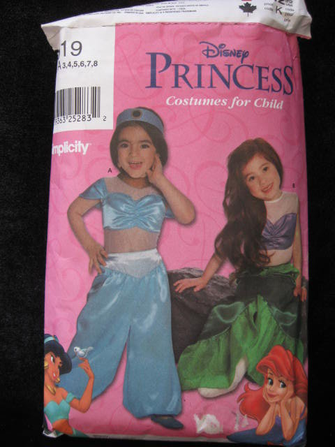 Simplicity 9919 Disney Ariel  & Princess Jasmine Halloween Costume Sewing Pattern Child Size 3 4 5 6 7 8