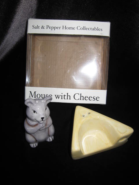 Mouse With Cheese Salt   & Pepper Shakers