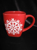 Starbucks 2004 Red & White Snowflake Christmas Or Winter Mug