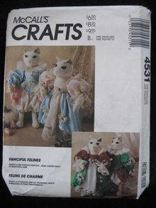 New Vintage McCall's 4531 Fanciful Felines  Elizabethian Cat & Wardrobe Sewing Pattern