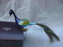 Blue Peacock  Glass Old World Christmas Figural Ornament