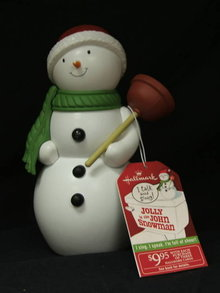 Hallmark 2010  2011 Jolly In The John Motion Activated Singing Bathroom Snowman  Plumber