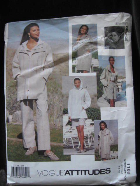 Vogue Attitudes 1169 Jennifer George  Misses' Hoodie Jacket, Top, Shorts Pants Size 6 8 10