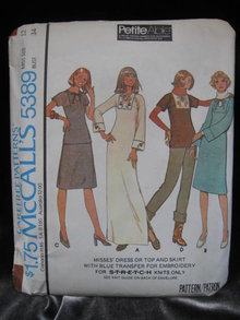 New Vintage McCall's 5389 Hippie Dress or Top Skirt With Blue Transfer For Embroidery Sewing Pattern Size 12  1970's