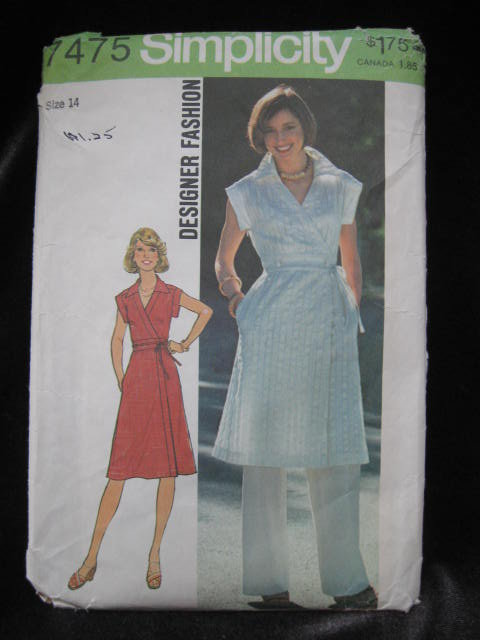 New Vintage Simplicity 7475 Misses' Front Wrap  Dress & Pants Sewing Pattern Size 14   1970's