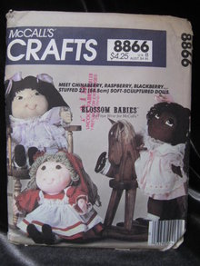New Vintage   McCall's Crafts 8866 Cabbage Patch Kids Look A Like Soft Sculptured Dolls Blossom Babies Sewing Pattern