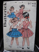 Vintage Butterick  9749  Girl's Sun Dress  or Back Wrapped Dress Sewing Pattern  Size 8   1950's or 1960's