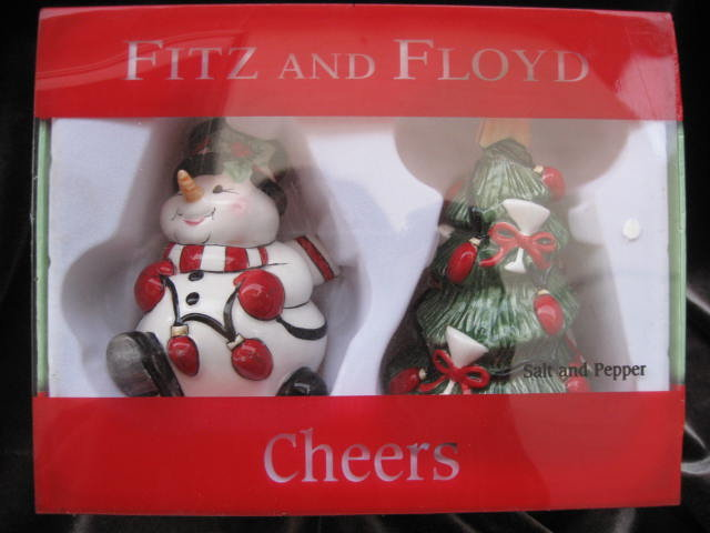 New 2006 Fitz & Floyd Cheers Snowman & Christmas Tree Salt & Pepper Shakers In Original Box