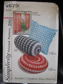 New Vintage Simplicity 4697 Cafe Curtains & Smocked  Round Square Bolster Pillows  Sewing Pattern   1950's or 1960's