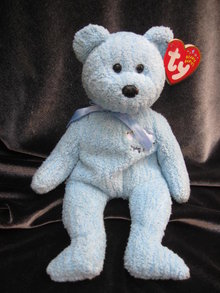 Ty Baby Boy The Blue Teddy Bear Retired Beanie Baby