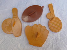 4 Hallmark & Wilton Sports Baseball Glove , Football, Tennis &  Bowling Cookie Cutters