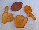 4 Hallmark & Wilton Sports Baseball Glove , Football, Tennis &  Bowling Cookie Cutters