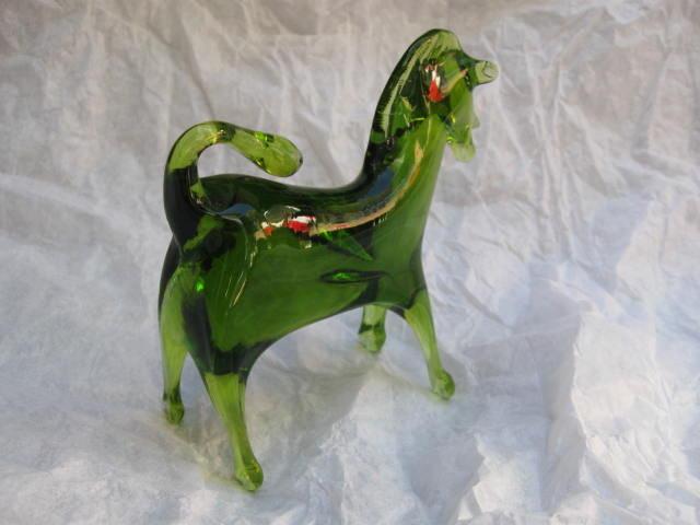 Viking Green Glass Horse Figurine