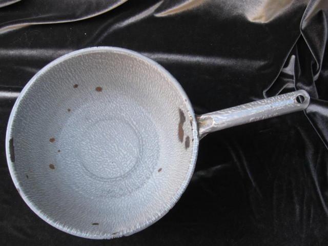 Large  Vintage Graniteware Enamelware Gray Pan