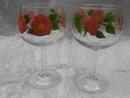 Set Of 2 Franciscan Desert Rose Glass  Wine Goblets