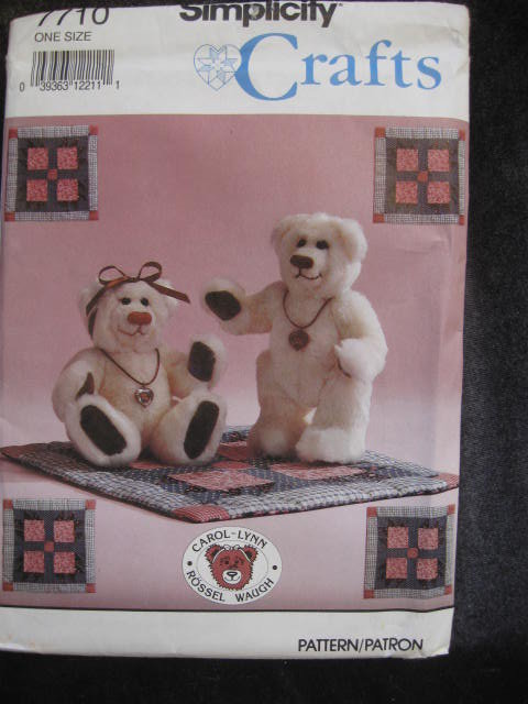 New Simplicity Crafts  7710 Small Collector Teddy Bear & Mini Bear Claw Quilt Sewing Pattern
