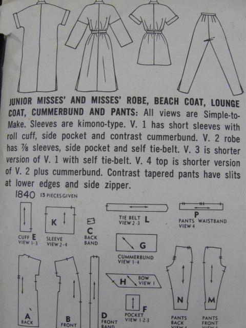 Vintage Simplicity 1840 Asian Style Junior Misses' Robe, Beach Coat Lounge Coat Cummerbund & Pants Sewing Pattern