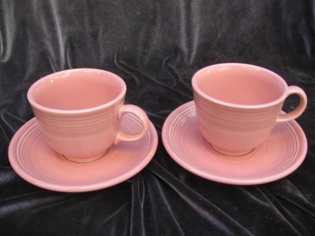 2 Homer Laughlin Fiesta Pink Cups & Saucers