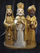 Vintage 3 Wise Men Paper Mache Christmas Decoration Tabletop Display