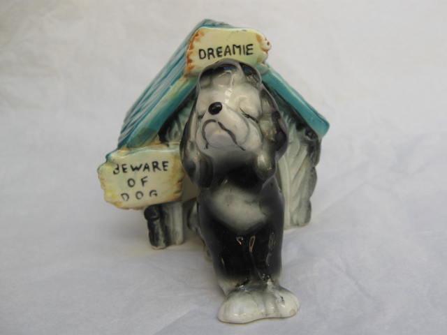 Vintage  Beware Of Dog  Dreamie &  Dog House Salt & Pepper Shakers