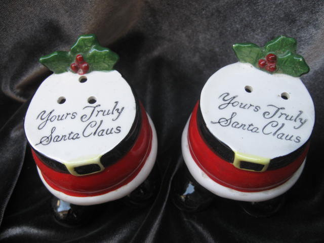Vintage  Yours Truly Santa Claus Salt & Pepper Shakers