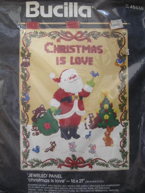 New Vintage Bucilla Christmas is Love Wall Hanging Jeweled Panel Kit 48636
