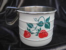 Vintage Strawberry Enamelware Measuring Cup