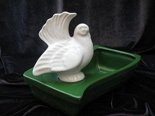 Vintage Green & White Peace Dove Planter