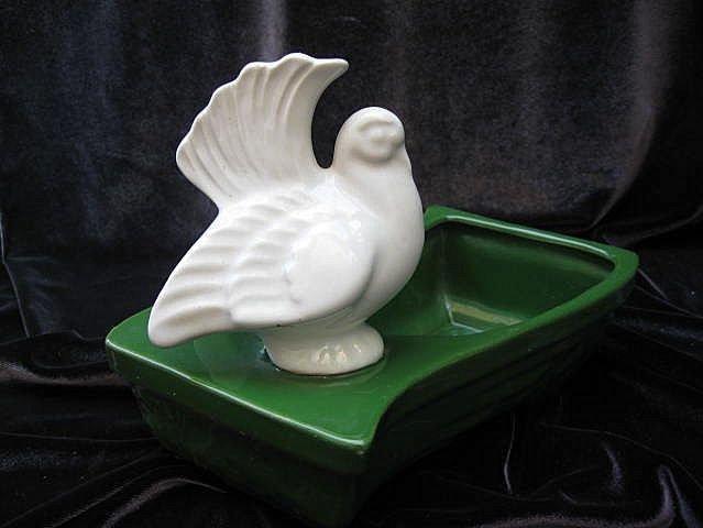 Vintage Green & White Peace Dove Planter