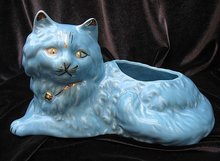 Vintage Turquoise Blue & Gold Cat Planter