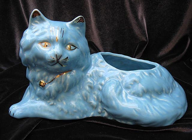Vintage Turquoise Blue & Gold Cat Planter