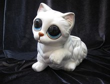 Vintage Lefton Big Eyes White Kitty Cat Figural Planter