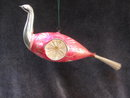 Large Indent Pink Glass Bird With Spun Tail Christmas Ornament