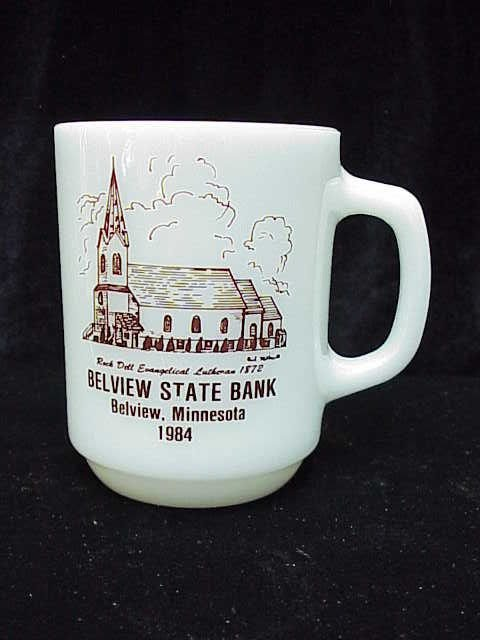 Fire King Advertising Bank Milk Glass Mug With Church *** Advertising Error***