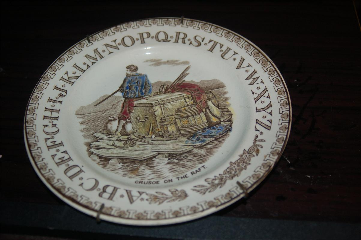 ANTIQUE ALPHABET PLATE W/ ENGLISH REGISTRY NUMBER