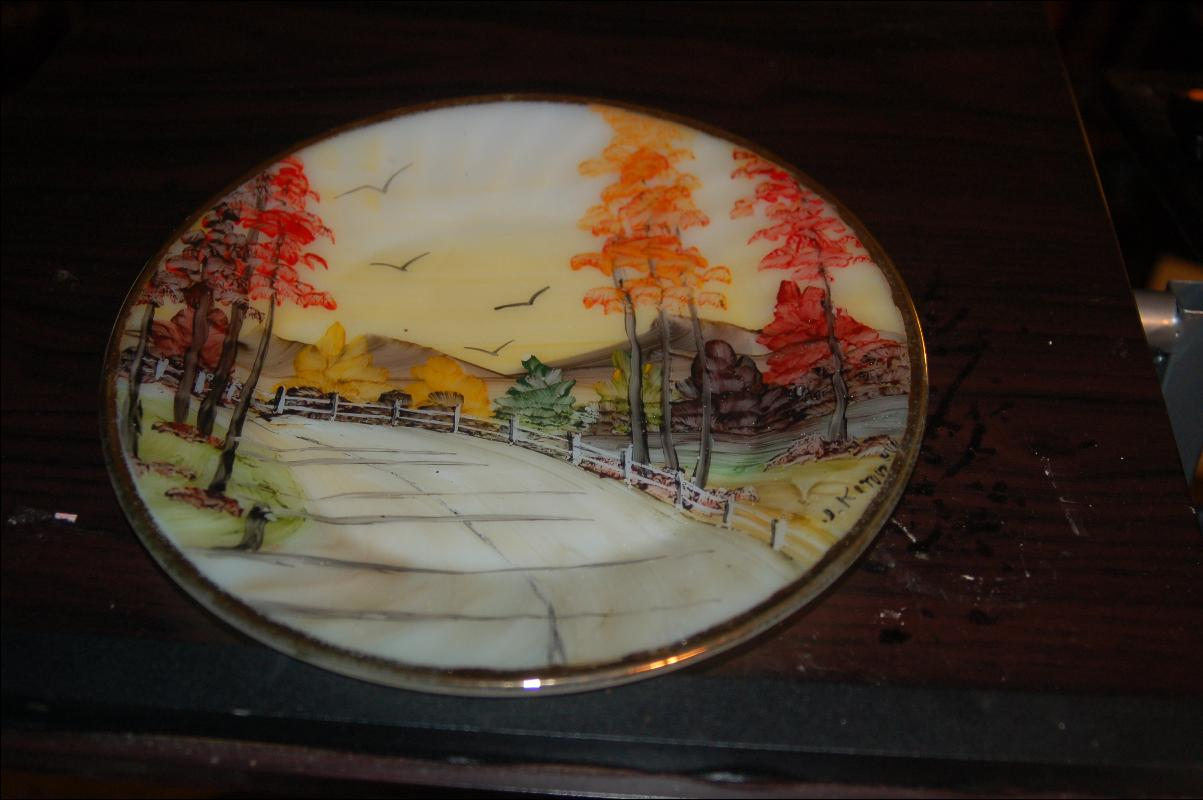 FIRE KING GLASS PLATE WITH ARTIST SIGNED HAND PAINTED COUNTRY ROAD SCENIC