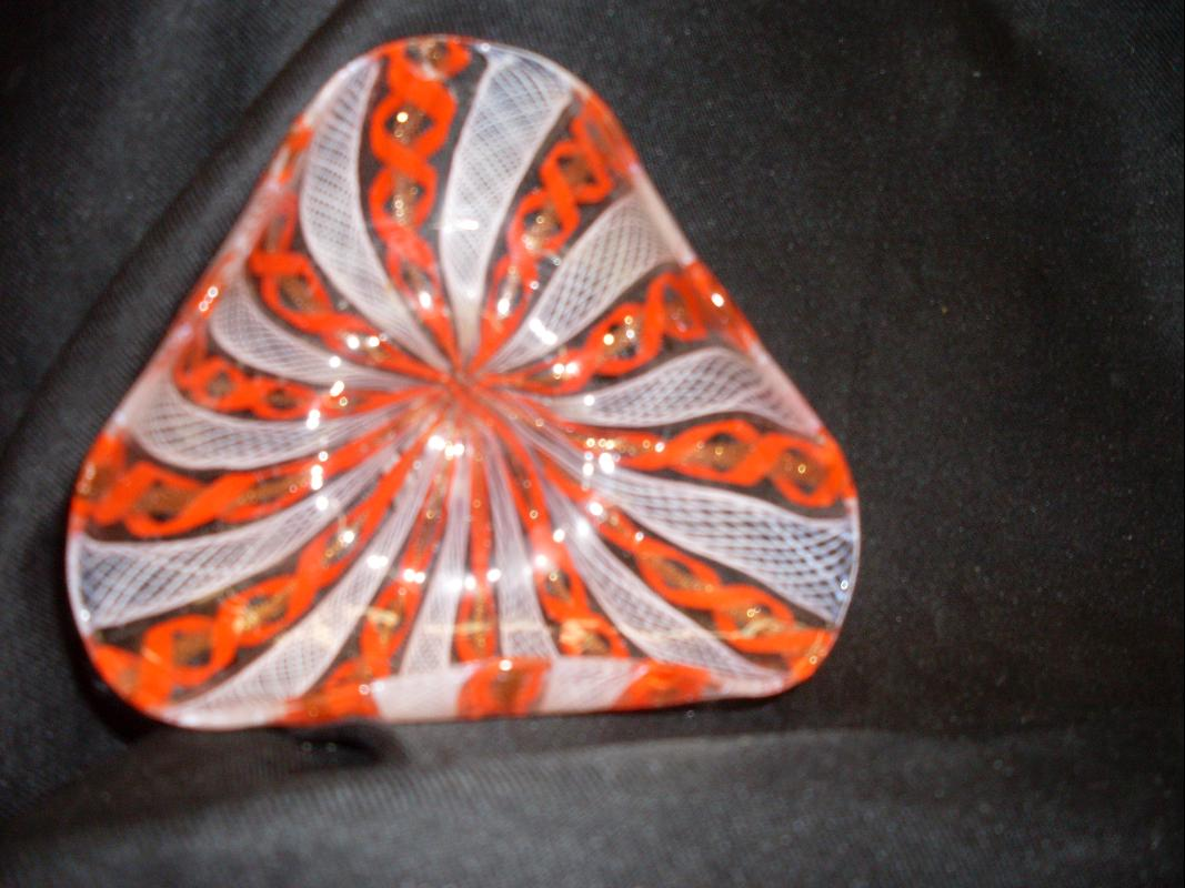 christmas striped glass dish