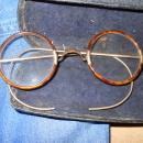 ANTIQUE SPECTACLES 12K GOLD AND HORN RIM
