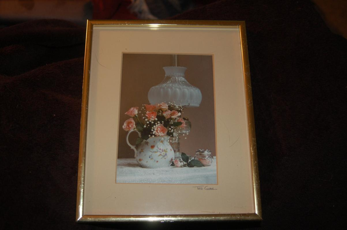 PHOTOGRAPH SIGNED BY ARTIST TED COOPER A STILL LIFE STUDY FRAMED