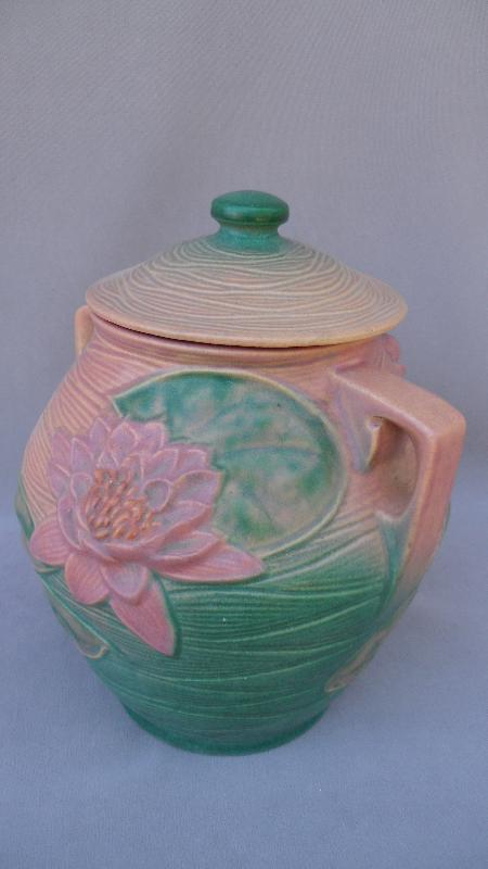 Pink Water Lily Roseville 1-8 Cookie Jar  - 1940s