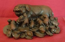 Rare Chinese Bronze FINE PIG & PIGLETS HEAVY